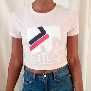 FILA   Pink logo crop tee 558